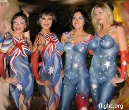 V Australia girls in body paint (Feb 27, 2009)