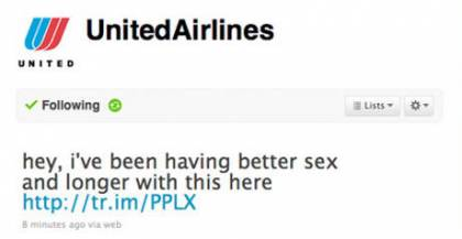 United Airlines Twitter Account Hacked