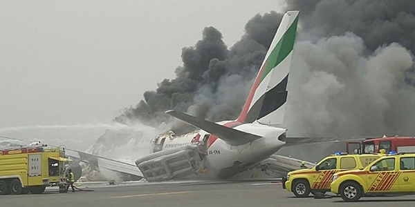 Emirates 777 Fire Dubai. Sourced Twitter.